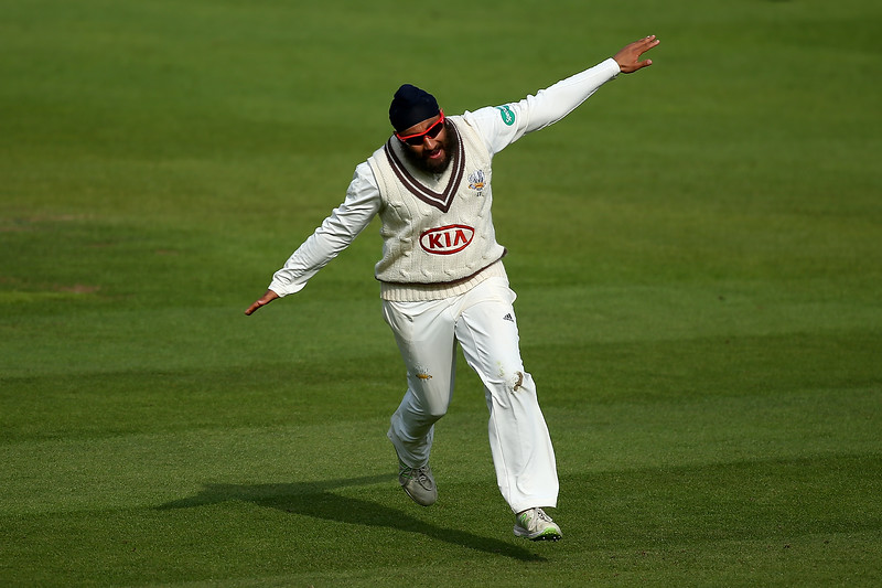 13th May - Amar Virdi wheels off in 'the aeroplane' after bowling out Joe Root during the third day of the County Championship match against Yorkshire.