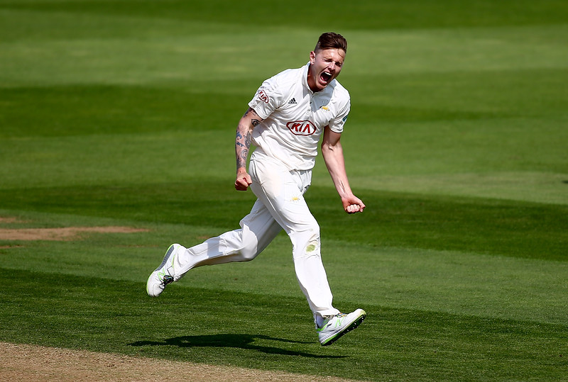 31st August - Conor McKerr wheels off in celebration after bowling out Riki Wessels of Nottinghamshire during the third day of the County Championship  match against Nottinghamshire
