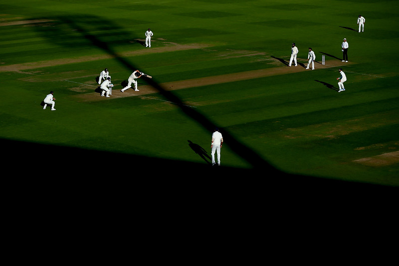 7th September - Jos Buttler hits into the lengthening shadows on the first day of the 5th Test match between England and India.