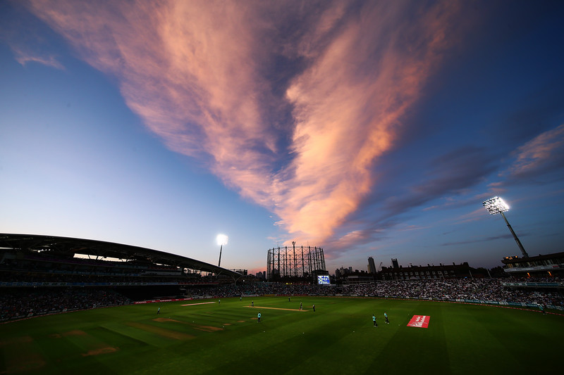 31st July - A spectacular cloud formation forms overhead during the Vitality Blast match between Surrey and Glamorgan.