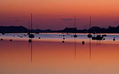 Bosham Yachts at sunset, West Sussex