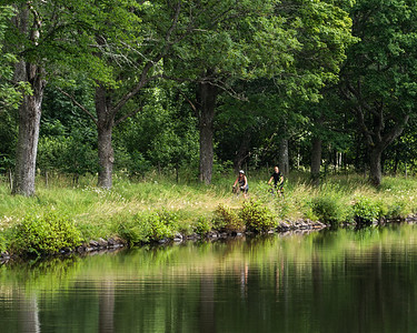 People like to bicycle along the old tow paths, on the Gota Kanal, SWEDEN