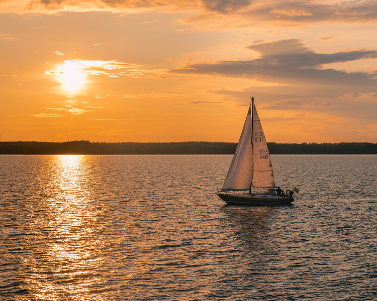 Sailboat at sunset, Lake Vanern, Sweden
