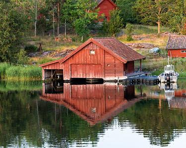 Boathouse at dawn, Baltic archipelago, Sweden