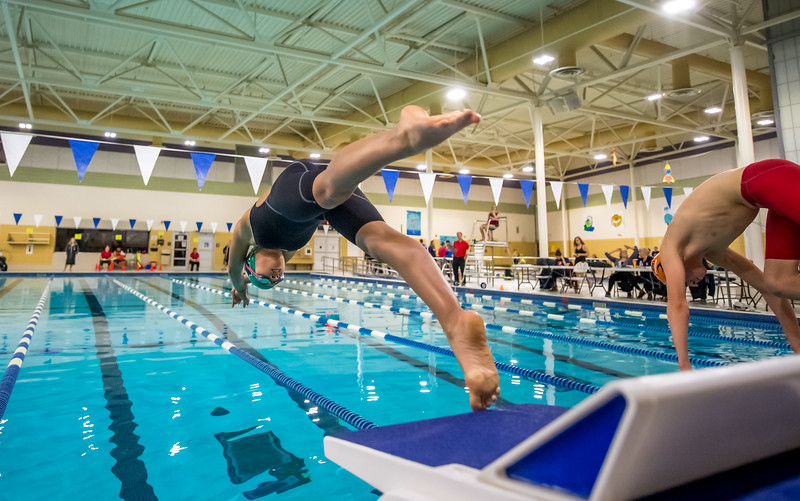 Diving into the pool at the start of the 2019 Aquafast Swim Meet