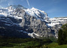 Beyond the Schwarzmönch to the Mönch, rising to 13,448 ft. (4,107 m) - with the snow-capped Silberhorn (Silverhorn) to the right, peaking at 12,123 ft. (3,695 m) - canton of Bern
