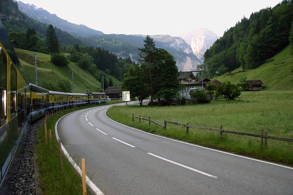Berner Oberland Bahn (BOB), heading northeast from Interlaken - towards the Lauterbrunnen Valley, at its confluence with the Schwarze Lutschine Ruver - canton of Bern
