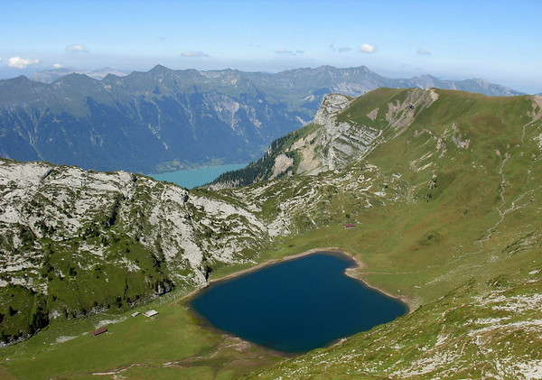 Across the Sägistalsee (Lake Sagistal) - down to Lake Brienz, about 4,920 ft. (1500 m) below - canton of Bern