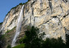 Staubbach Falls - the 8th tallest waterfall, with a vertical plunge of 974 ft. (297 m) - from an overhanging limestone cliff face along the Lauterbrunnen Wall - canton of Bern