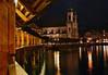 From the Kapellbrücke (Chapel Bridge) - beyond the Reuss River - to the Jesuit Church - Lucerne
