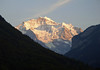 Late afternoon sunlight upon the Jungfrau (maiden or virgin) and Silberhorn (Silver Horn) - with the Giessen Gletscher (Giessen Glacier) - part of the Bernese Alps (western Alps)