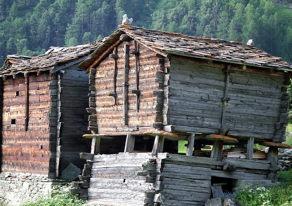 Old wooden log dwelling with stone-roofs - hamlet of Zmutt - canton of Valais