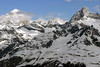 Clouds moving in over the Dent Blanche (L) - the Mont Durand (M) - and the Ober Gabelhorn (R) canton of Valais