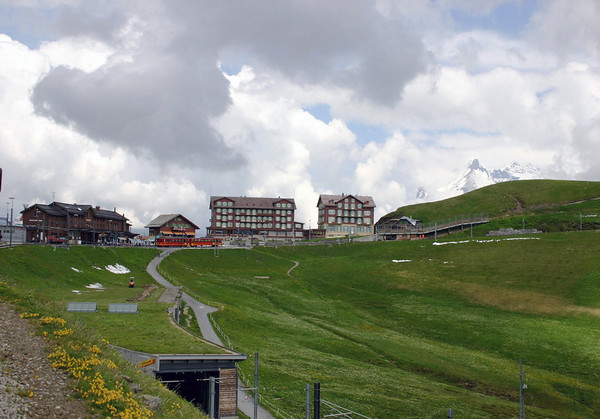 Kleine Scheidegg - a high mountain pass village, at an elevation of 6,762 ft. (2,061 m) - the starting point of the Jungfraubahn (train) - with the summit of the Wetterhorn in the distance - canton of Bern