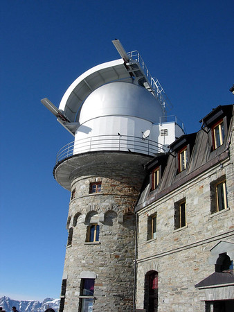 KOSMA - a 3-m radio telescope installed in the southern tower of the Klum Hotel, by the University of Köln (Cologne) - located atop the Gornergrat - canton of Valais