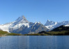 Across the Bachalpsee (Lake Bachalp) - to the twin Kleins Schreckhorn and up to the Schreckhorn and directly behind the Lauteraahorn - with the highest peak in the Bernese Alps, the Finsteraahorn, rising to 14,026 ft. (4,274 m) - canton of Bern