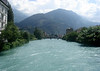 Up the Aare River (also spelled Aar, a tributary of the Rhine and the longest river (183 mi. - 295 km) entirely within Switzerland, here connecting Lake Thun and Lake Brienz) - with the Harder Klum (a small peak above the city of Interlaken) beyond - canton of Bern