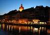 """Dust across the Reuss River - to the Alstadt """"old city"""" - with the domed Rathausturm """"Town Hall Tower"""" - Lucerne"""