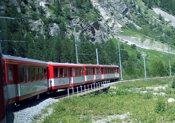 Train from Brig to Zermatt - here along the rocky walls of the Mattertal (Matter Valley) - canton of Valais