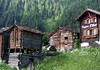 Zmutt - a hamlet established in 1936 with their stone-roof homes - located southwest of Zermatt - in the canton of Valais, part of the northeastern drainage for the Rhone River