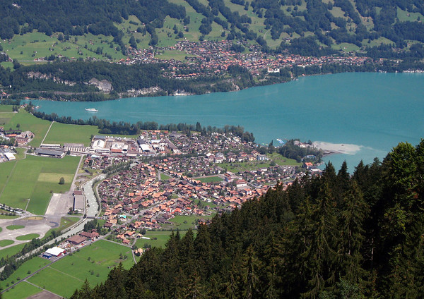 From the Schynige Platte - town of Bönigen - across the southwestern end of Brienzersee (Lake Brienz) - to the town of Goldswil - canton of Bern