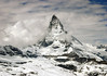 Matterhorn (eastern face) - with the cumulus clouds rolling in from the south - canton of Valais