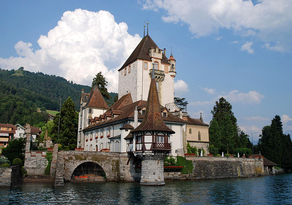 Oberhofen Castle (13th century) - a Swiss heritage site of national significance - on the northwestern portion of Thunersee (Lake Thun)
