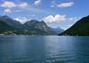 Northeast view across Lake Lugano - to the Monte Goglia , Montel Salleta, and Zocca della Nave - the distal peak of Cime de Fiorina - with the tree-covered slope of Monte Casle (right)