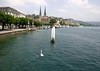 Lake Lucerne - north shore along Haldenstrasse (street) - with the twin Gothic towers of the Hof Church - Lucerne