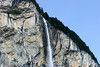 Staubbach Falls - snow melt flowing from the eastern slopes of the Bietenhorn - over the hanging cliff of sedimentary limestone - along the Lauterbrunnen Wall - canton of Bern