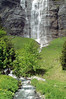 Base of the Staubbach Falls - and the creek therefrom, flowing across the Lauterbrunnen Tal (Pure Well Valley) - canton of Bern