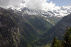 From the western ridge, atop the Lauterbrunnen Valley, at the village of Mürren - across to the waterfalls flowing along the lower eastern slopes - canton of Bern