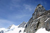 Up the limestone and gneiss slopes to the observation deck grating of the Sphinx - up to the eastern face and summit of the Jungfrau (Maiden or Virgin), rising to 13,642 ft. (4,158 m), the 3rd tallest point in the Bernese Alps - canton of Valais