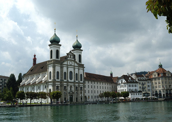 Across the Reuss River - to the Jesuitenkirche (Jesuit Church) - the first large baroque style church built in Switzerland, north of the alps - the cornerstone was laid in 1666 and the church was consecrated in 1677 -  the copper onion spires were added in 1893 - Lucerne