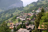 Railway Station in the alpine village of Wengen - with the northern mouth of the Lauterbrunnen Valley beyond - canton of Bern