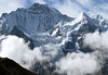 Beyond the cumulus clouds, to the Silberhorn (Silverhorn) - up to the western face of the Jungfrau - canton of Bern