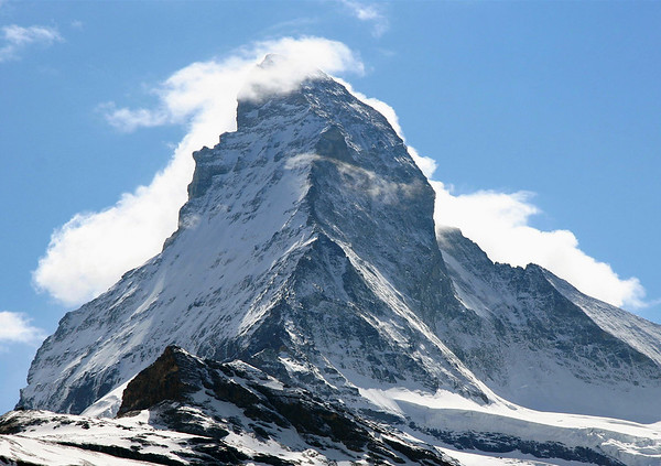 Up the Hörnli Ridge - to the cloud covered peak of the Matterhorn - canton of Valais