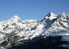 Dent Blanche, rising to 14,291 ft. (4,356 m) and the Ober Gabelhorn, rising to 13,330 ft. (4,063 m) - canton of Valais