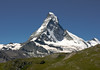 Matterhorn, with the summit peaking at 14,692 ft. (4,478 m) - this northeastern view up the Hörnli Ridge - canton of Valais