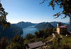 Southern view from Monte San Salvadore - to Lake Lugano - and the Dam of Melide - with Monte San Giorgio (a UNESCO site), directly beyond the dam