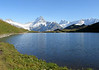 Bachalpsee (Lake Bachalp)- across to the distal peaks of the Barglistock (L), Schreckhorn and Lauteraahorn (LC), Finsteraahorn, the highest peak (14,026 ft. - 4,274 m) in the Bernese Alps (RC), and the Klein Fiescherhorn and Gross Fiescherhorn (R) - canton of Bern