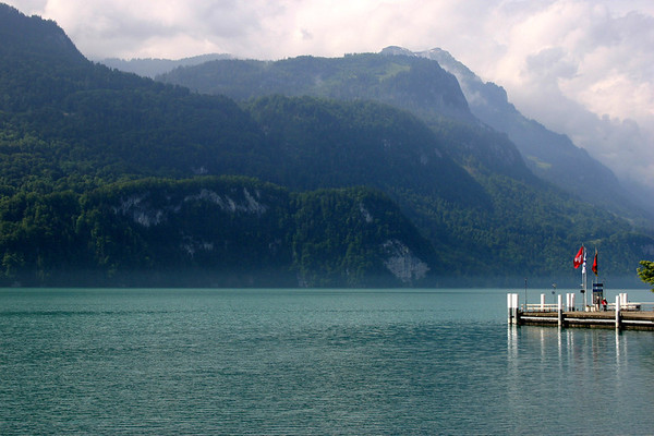Southern view across Lake Brienz from the town or Brienz - canton of Bern