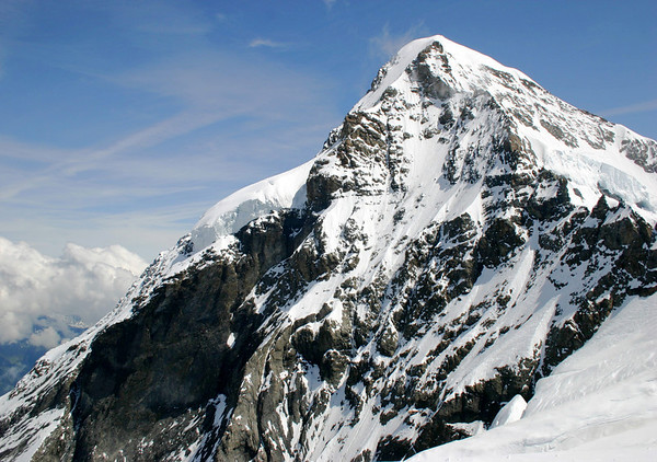 Mönch (Monk) - viewing up the southwestern ridge - rising to 13,474 ft. (4107 m), the 4th highest peak in the Bernese Alps