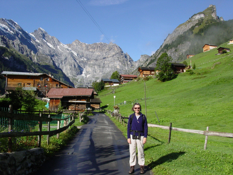 Jean on the main drag of Gimmelwald