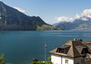 View of Lake Lucerne and Mount Pilatus in Weggis, Switzerland