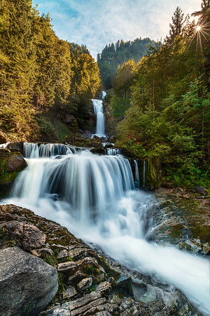 The Giessbach Falls in Switzerland