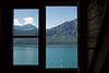 Seeing Lake Lucerne and the Alps through a window in Weggis, Switzerland