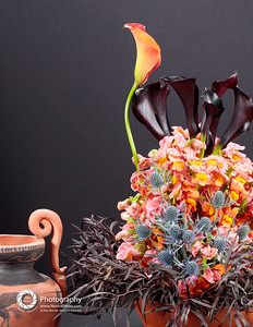 Art In Bloom: Molly McLeod - artist, Moy Burns &  Virginia Roaf  - arrangement