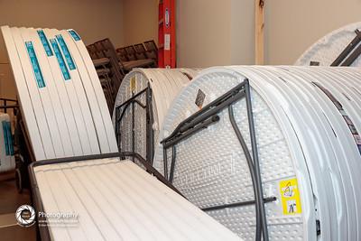 tables: storage between Simon Hall and Community Hall