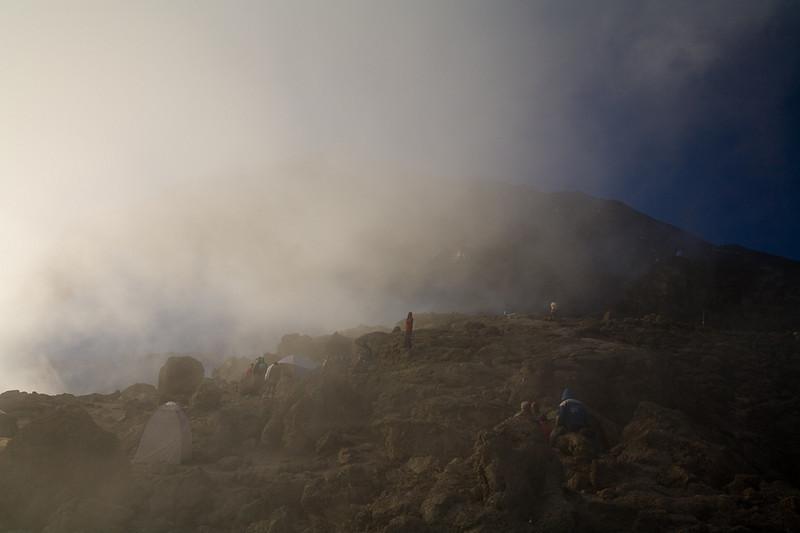 Barafo Camp with Mt. Kilimanjaro beyond, Tanzania